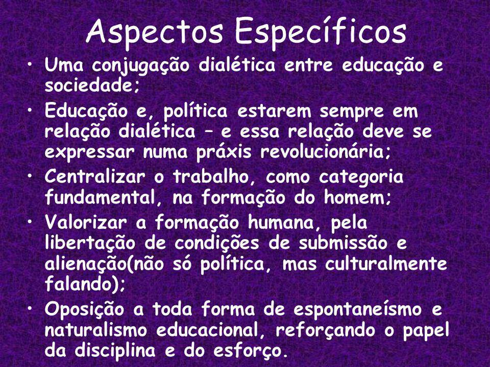 Aspectos Específicos Uma conjugação dialética entre educação e sociedade;