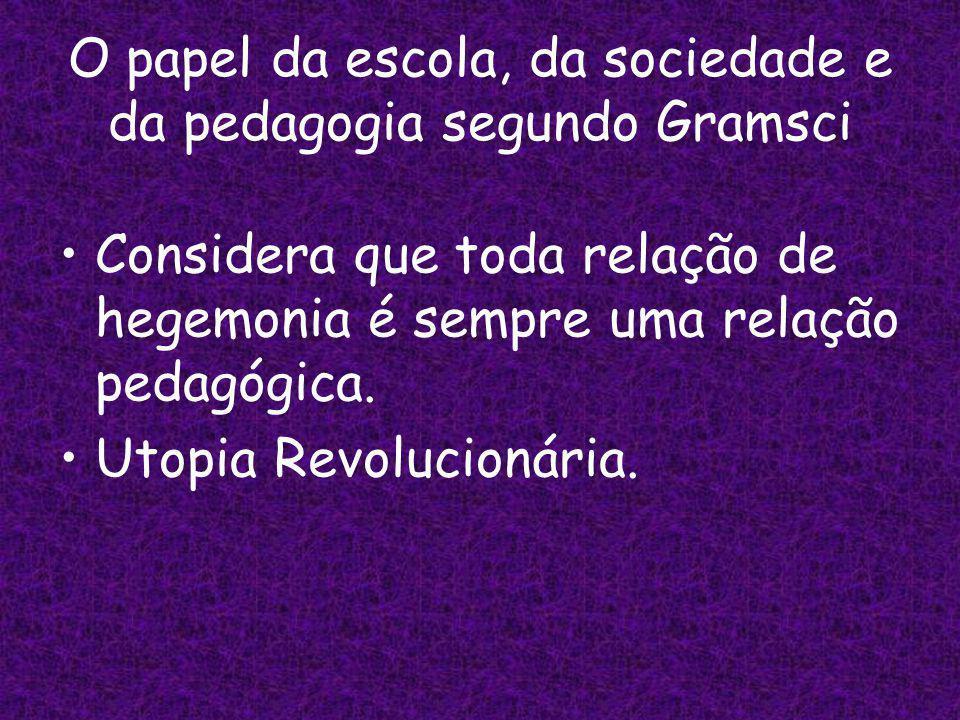 O papel da escola, da sociedade e da pedagogia segundo Gramsci
