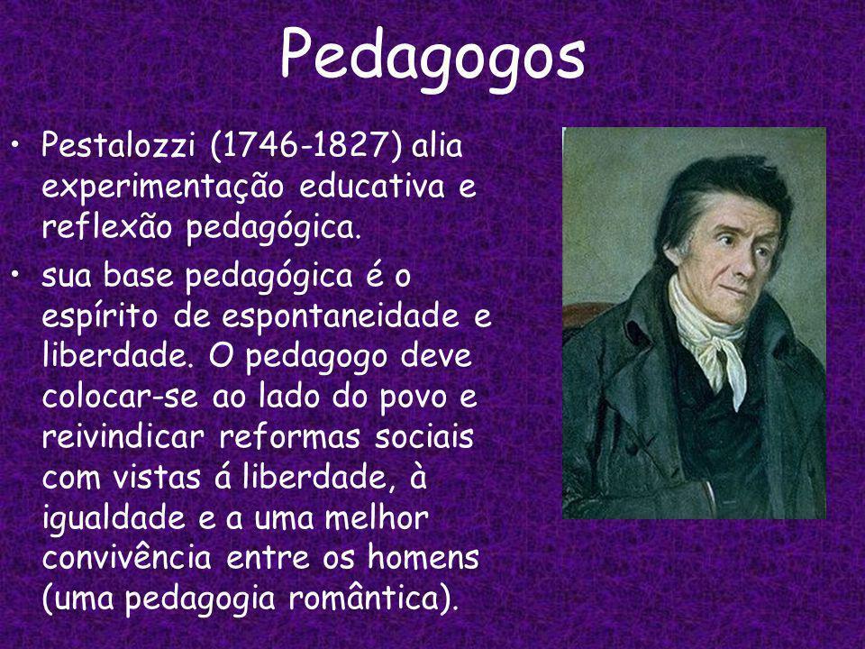 Pedagogos Pestalozzi (1746-1827) alia experimentação educativa e reflexão pedagógica.