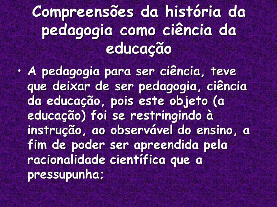 Compreensões da história da pedagogia como ciência da educação
