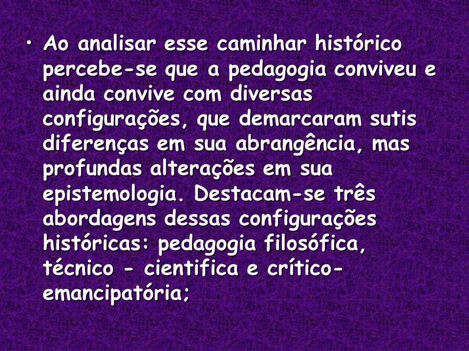 Ao analisar esse caminhar histórico percebe-se que a pedagogia conviveu e ainda convive com diversas configurações, que demarcaram sutis diferenças em sua abrangência, mas profundas alterações em sua epistemologia.