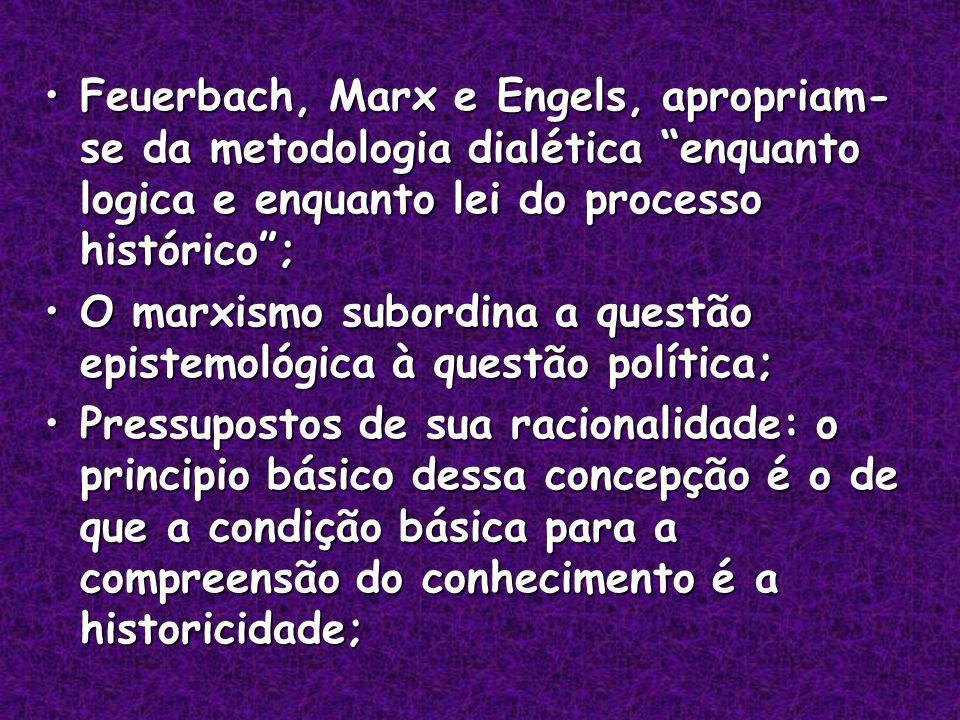 Feuerbach, Marx e Engels, apropriam-se da metodologia dialética enquanto logica e enquanto lei do processo histórico ;