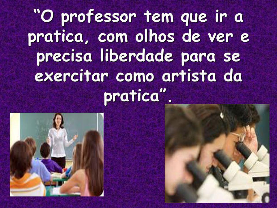 O professor tem que ir a pratica, com olhos de ver e precisa liberdade para se exercitar como artista da pratica .