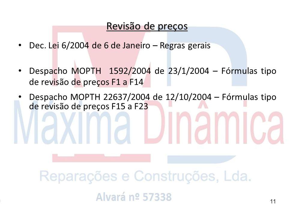Revisão de preços Dec. Lei 6/2004 de 6 de Janeiro – Regras gerais