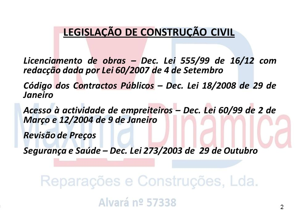 LEGISLAÇÃO DE CONSTRUÇÃO CIVIL