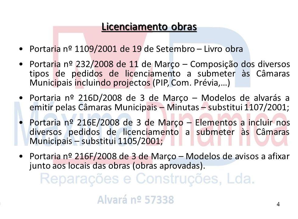 Licenciamento obras Portaria nº 1109/2001 de 19 de Setembro – Livro obra.