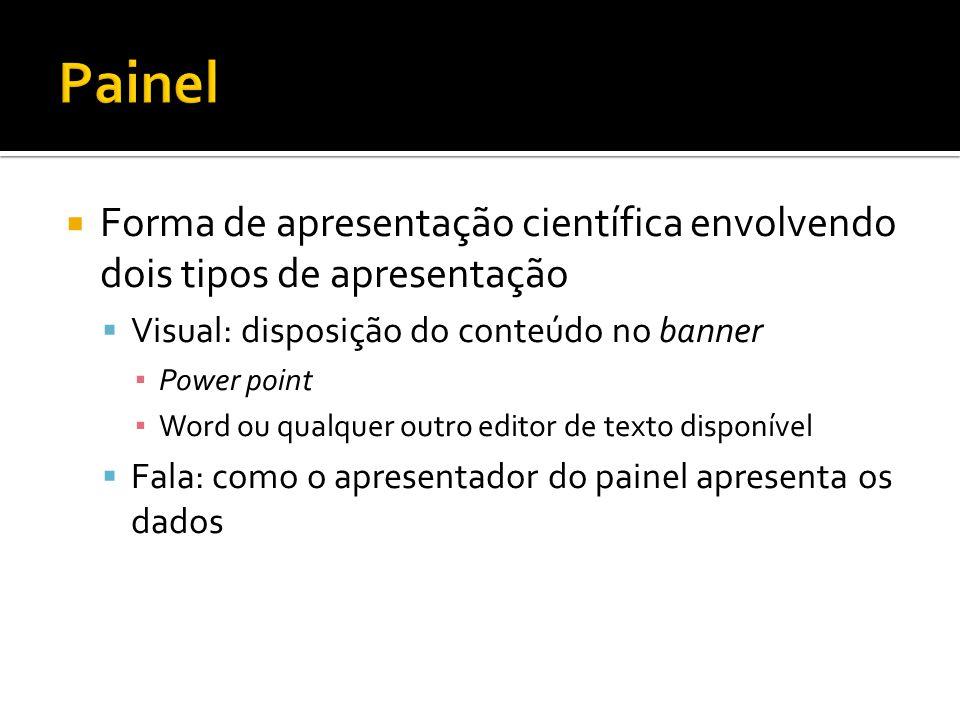 Painel Forma de apresentação científica envolvendo dois tipos de apresentação. Visual: disposição do conteúdo no banner.