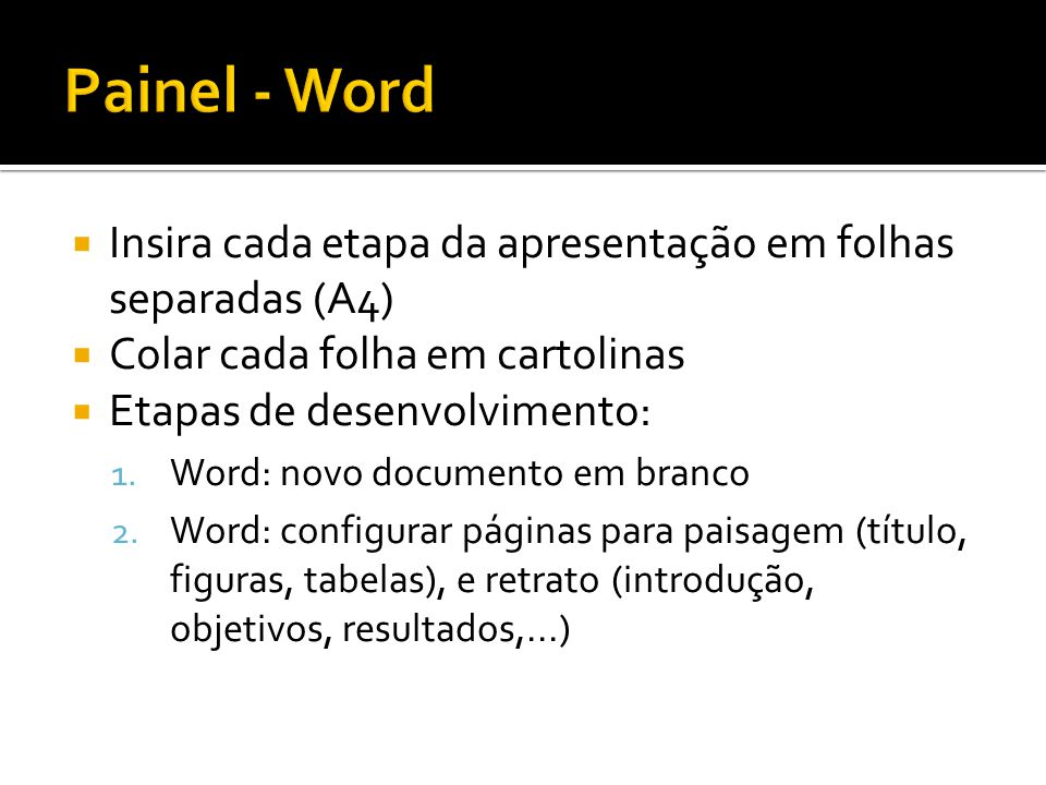 Painel - Word Insira cada etapa da apresentação em folhas separadas (A4) Colar cada folha em cartolinas.