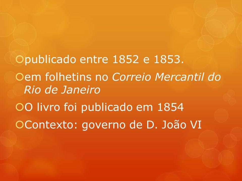publicado entre 1852 e 1853. em folhetins no Correio Mercantil do Rio de Janeiro. O livro foi publicado em 1854.