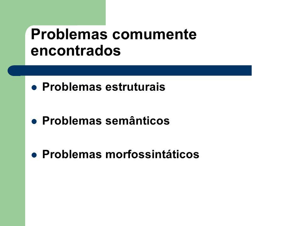 Problemas comumente encontrados