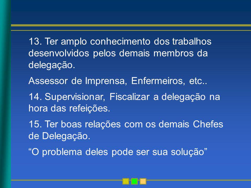 13. Ter amplo conhecimento dos trabalhos desenvolvidos pelos demais membros da delegação.