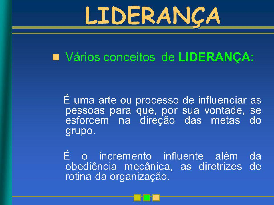 LIDERANÇA Vários conceitos de LIDERANÇA: