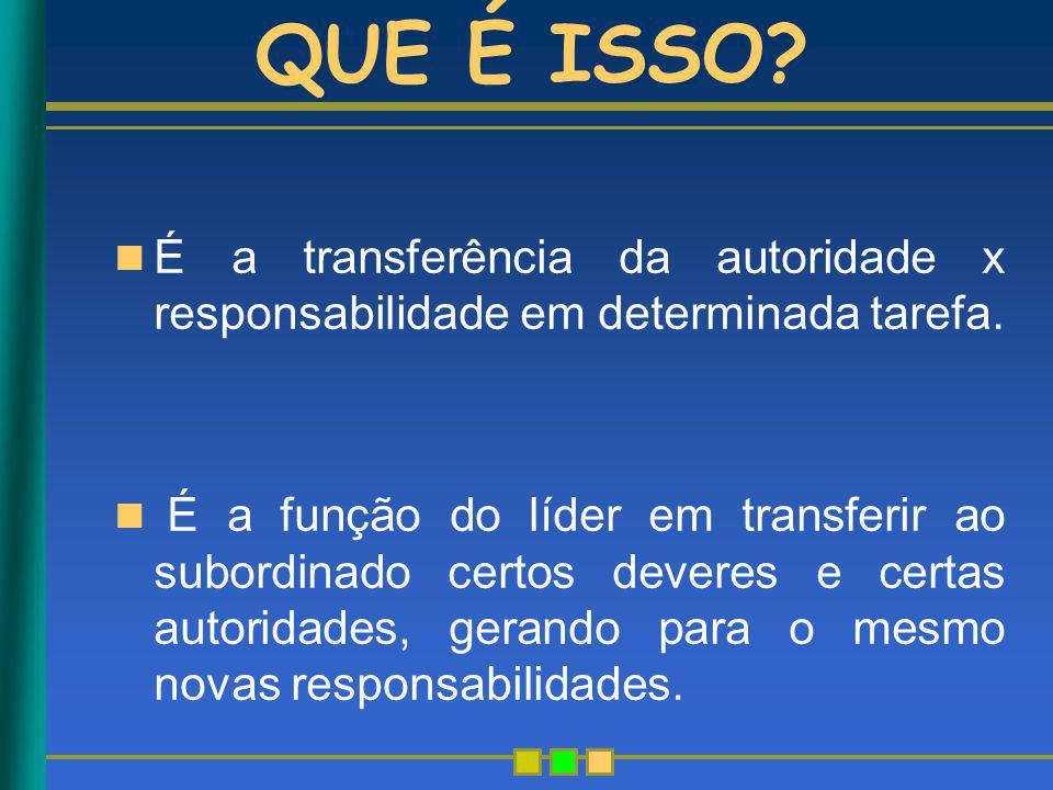 QUE É ISSO É a transferência da autoridade x responsabilidade em determinada tarefa.