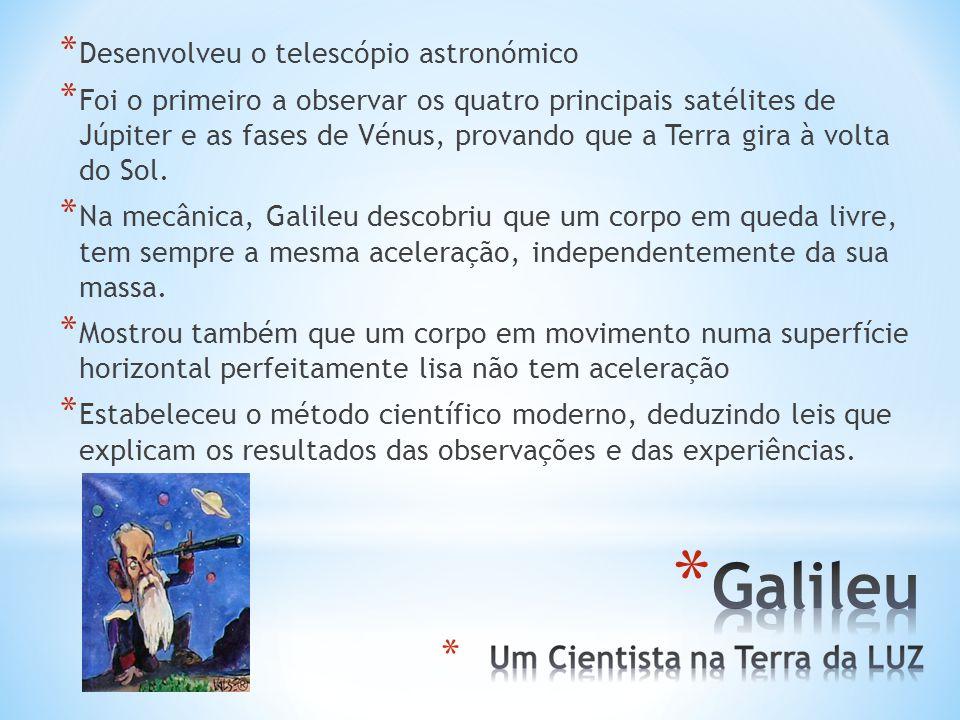 Galileu Desenvolveu o telescópio astronómico