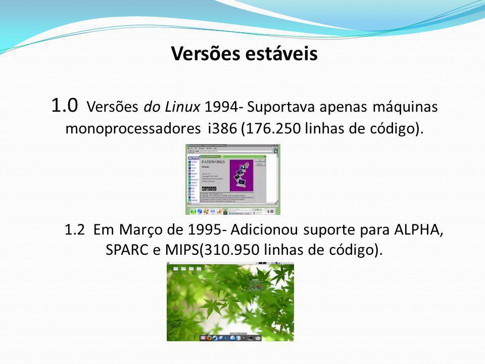 Versões estáveis 1.0 Versões do Linux 1994- Suportava apenas máquinas monoprocessadores i386 (176.250 linhas de código).