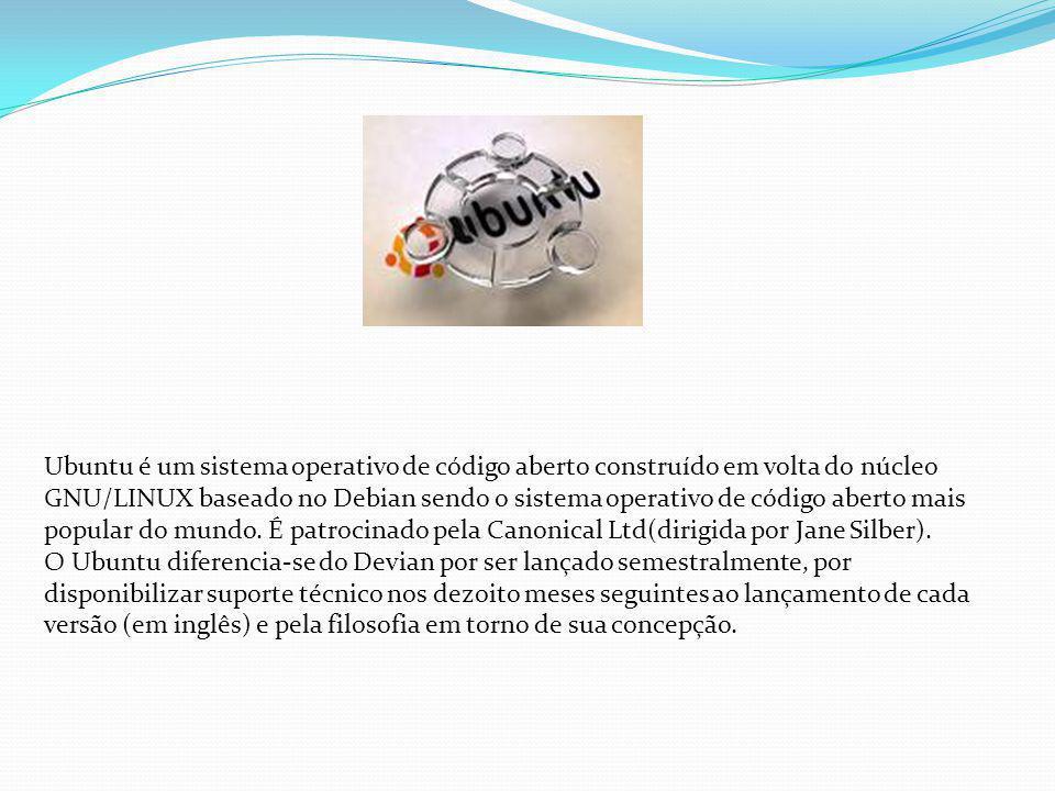 Ubuntu é um sistema operativo de código aberto construído em volta do núcleo GNU/LINUX baseado no Debian sendo o sistema operativo de código aberto mais popular do mundo. É patrocinado pela Canonical Ltd(dirigida por Jane Silber).