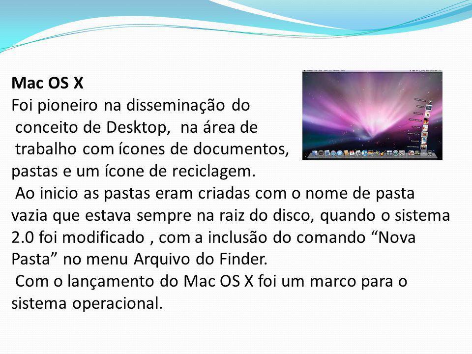 Mac OS X Foi pioneiro na disseminação do conceito de Desktop, na área de trabalho com ícones de documentos, pastas e um ícone de reciclagem.
