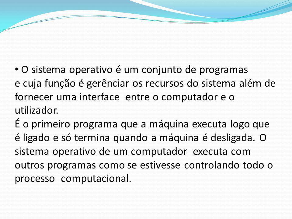 O sistema operativo é um conjunto de programas e cuja função é gerênciar os recursos do sistema além de fornecer uma interface entre o computador e o utilizador.