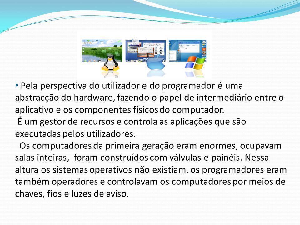 Pela perspectiva do utilizador e do programador é uma abstracção do hardware, fazendo o papel de intermediário entre o aplicativo e os componentes físicos do computador.
