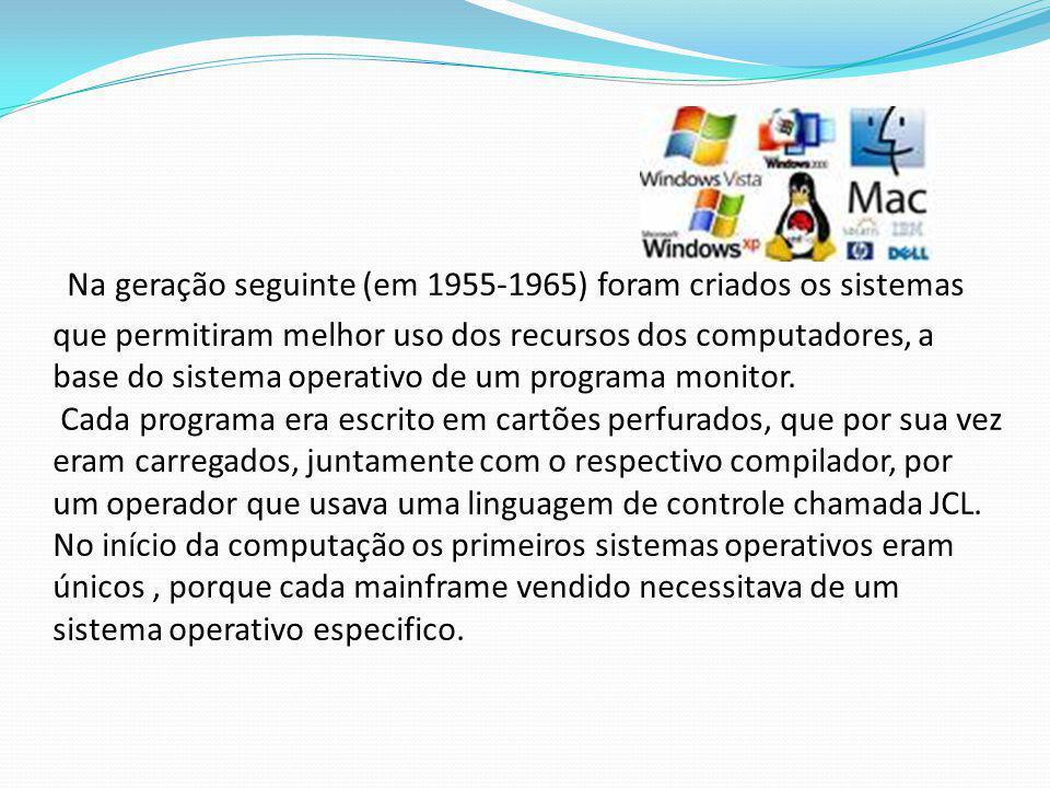Na geração seguinte (em 1955-1965) foram criados os sistemas que permitiram melhor uso dos recursos dos computadores, a base do sistema operativo de um programa monitor.