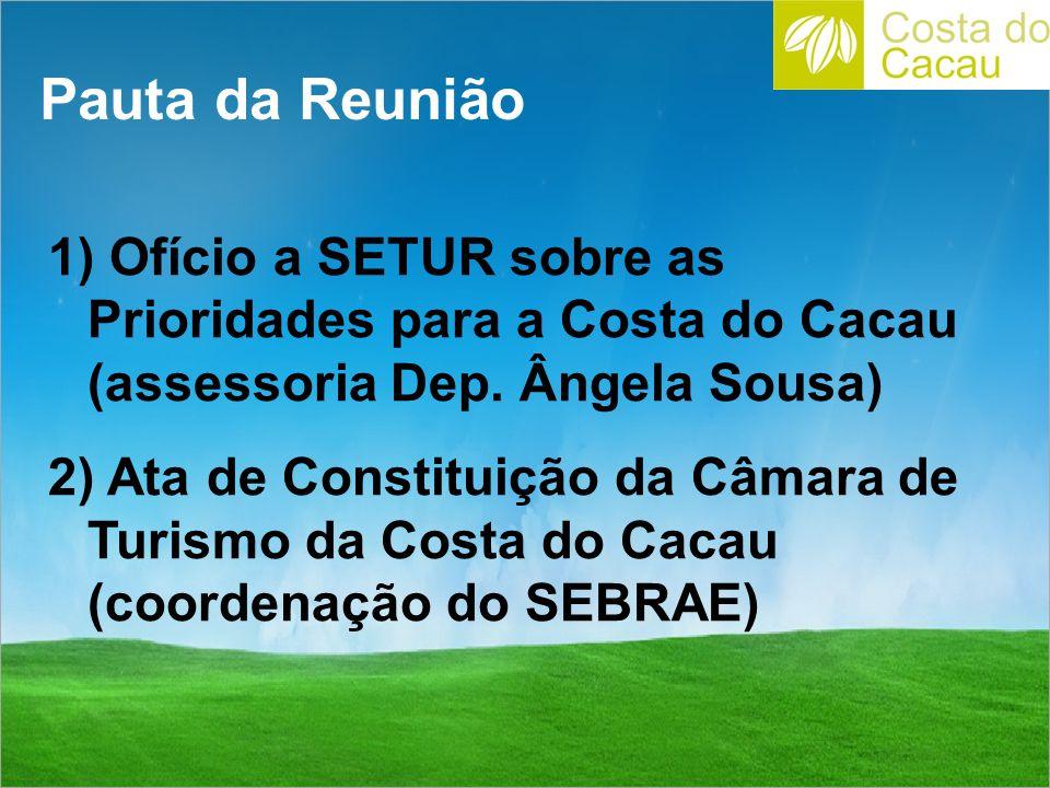 Pauta da Reunião Ofício a SETUR sobre as Prioridades para a Costa do Cacau (assessoria Dep. Ângela Sousa)