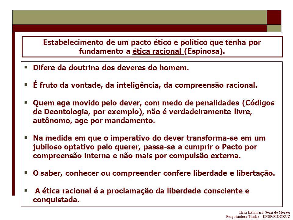 Estabelecimento de um pacto ético e político que tenha por fundamento a ética racional (Espinosa).
