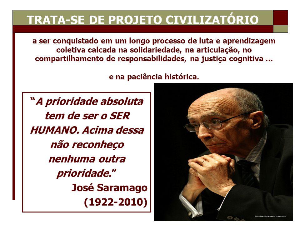 TRATA-SE DE PROJETO CIVILIZATÓRIO e na paciência histórica.