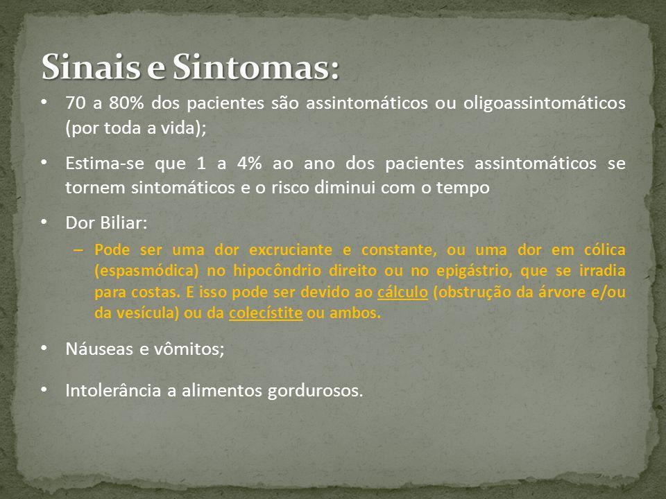 Sinais e Sintomas: 70 a 80% dos pacientes são assintomáticos ou oligoassintomáticos (por toda a vida);