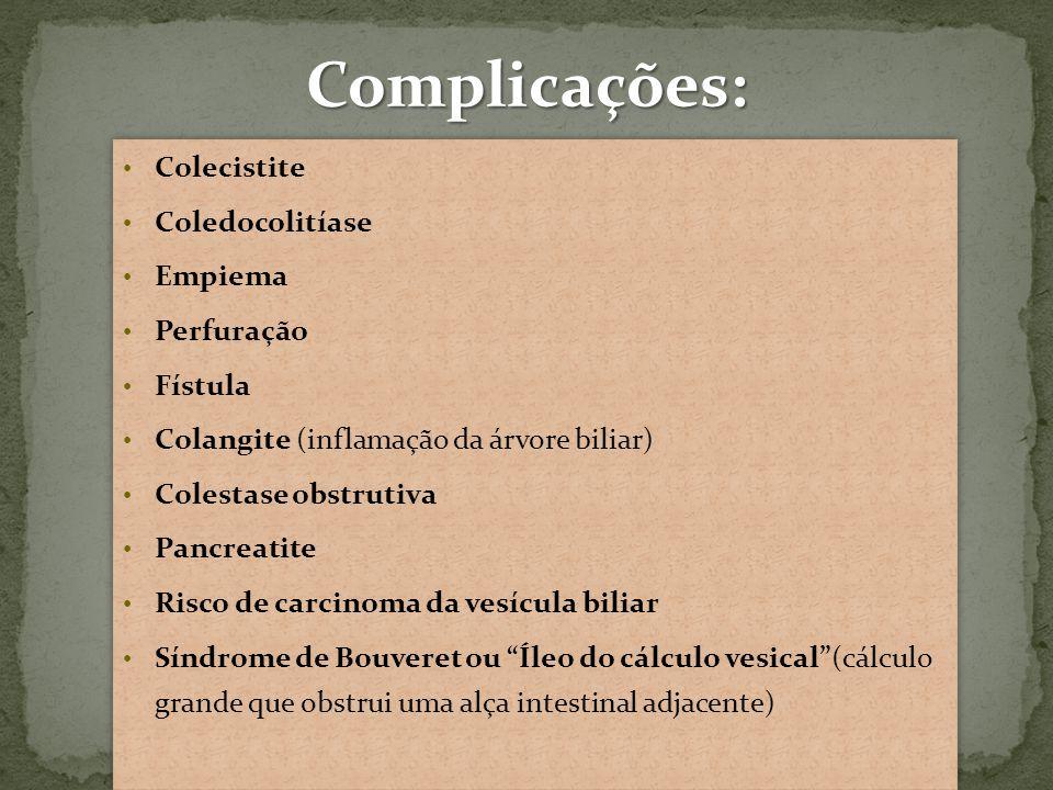 Complicações: Colecistite Coledocolitíase Empiema Perfuração Fístula