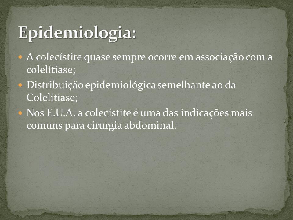Epidemiologia: A colecístite quase sempre ocorre em associação com a colelítiase; Distribuição epidemiológica semelhante ao da Colelítiase;