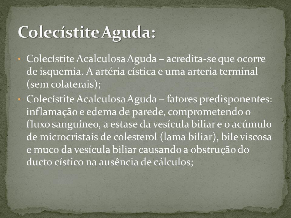 Colecístite Aguda: Colecístite Acalculosa Aguda – acredita-se que ocorre de isquemia. A artéria cística e uma arteria terminal (sem colaterais);