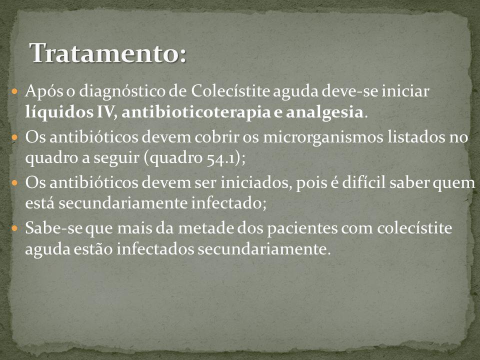Tratamento: Após o diagnóstico de Colecístite aguda deve-se iniciar líquidos IV, antibioticoterapia e analgesia.