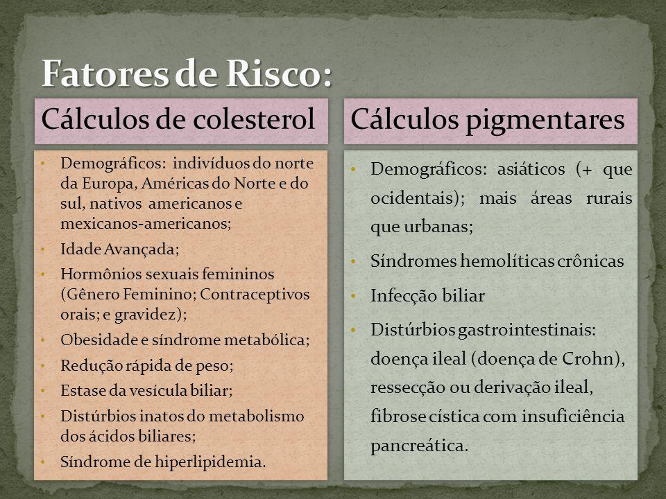 Fatores de Risco: Cálculos de colesterol Cálculos pigmentares