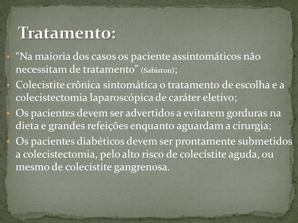 Tratamento: Na maioria dos casos os paciente assintomáticos não necessitam de tratamento (Sabiston);