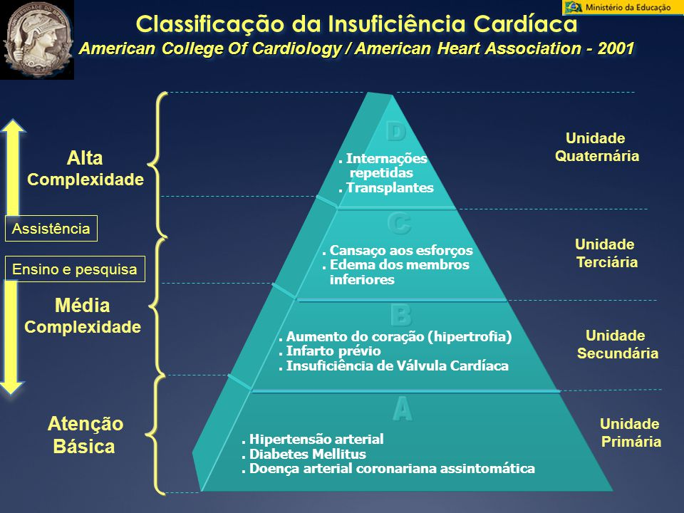 Classificação da Insuficiência Cardíaca American College Of Cardiology / American Heart Association - 2001