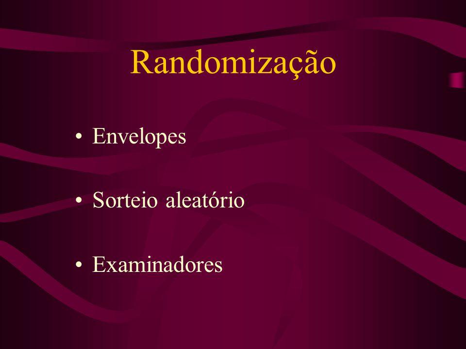Randomização Envelopes Sorteio aleatório Examinadores