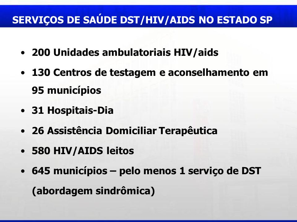 SERVIÇOS DE SAÚDE DST/HIV/AIDS NO ESTADO SP