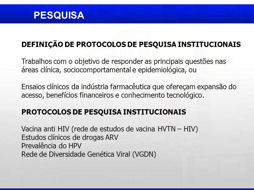 PESQUISA DEFINIÇÃO DE PROTOCOLOS DE PESQUISA INSTITUCIONAIS