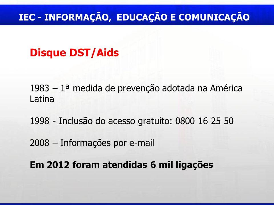 Disque DST/Aids IEC - INFORMAÇÃO, EDUCAÇÃO E COMUNICAÇÃO
