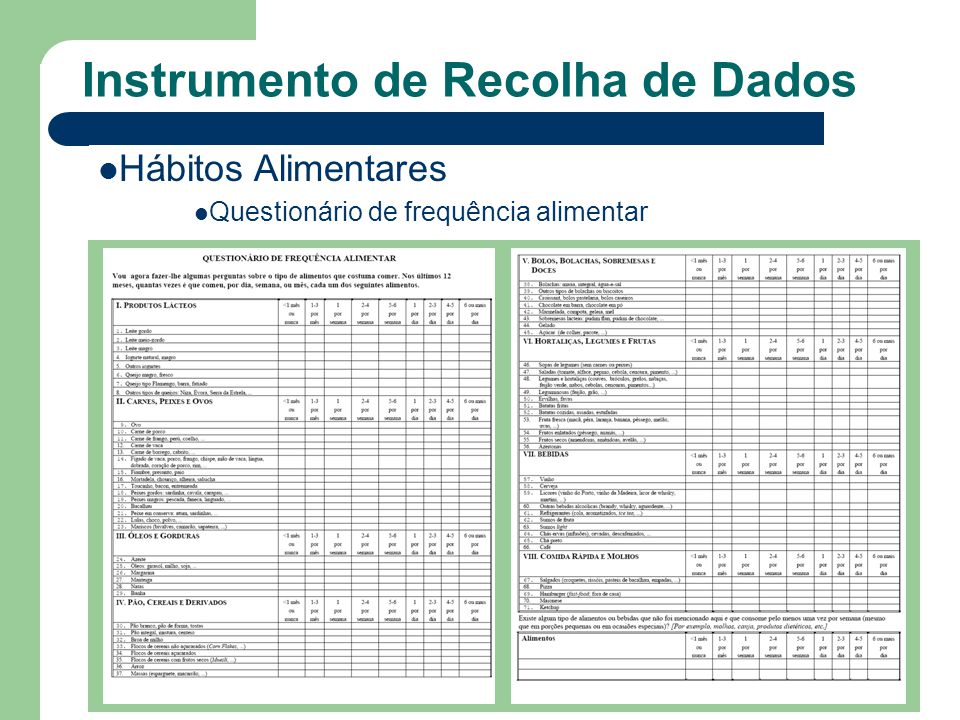 Instrumento de Recolha de Dados