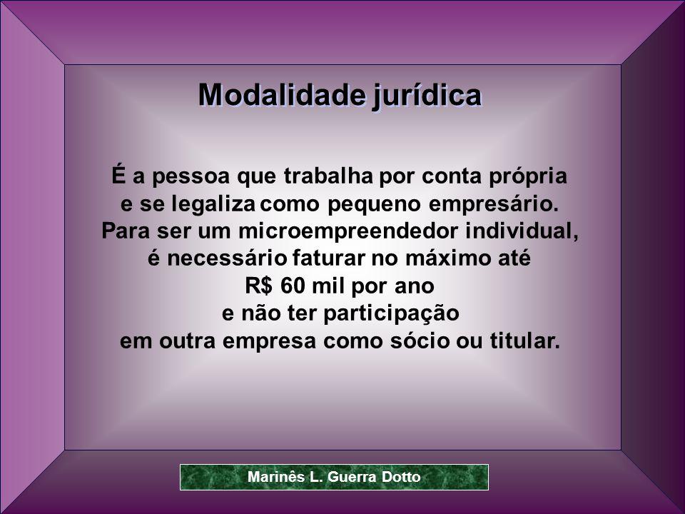 Modalidade jurídica É a pessoa que trabalha por conta própria