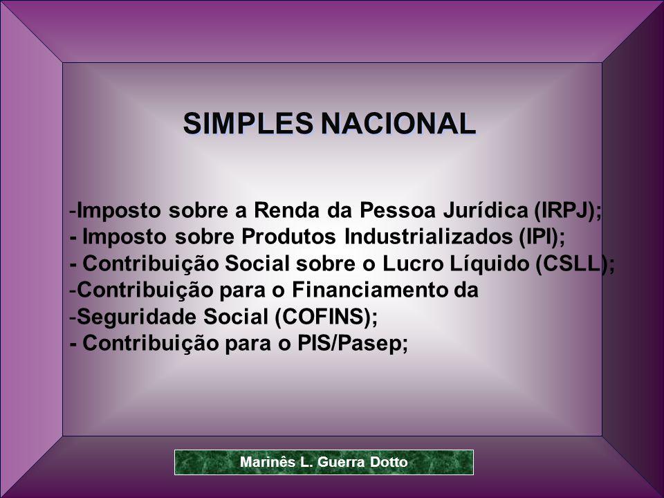 SIMPLES NACIONAL Imposto sobre a Renda da Pessoa Jurídica (IRPJ);