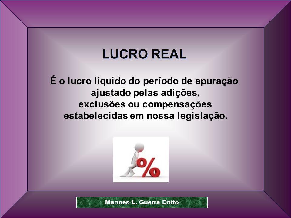 LUCRO REAL É o lucro líquido do período de apuração