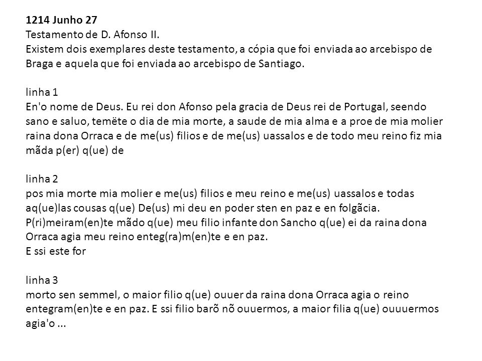 1214 Junho 27 Testamento de D. Afonso II