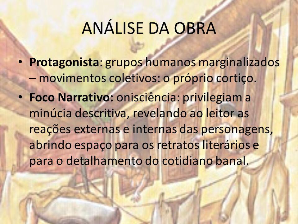 ANÁLISE DA OBRA Protagonista: grupos humanos marginalizados – movimentos coletivos: o próprio cortiço.