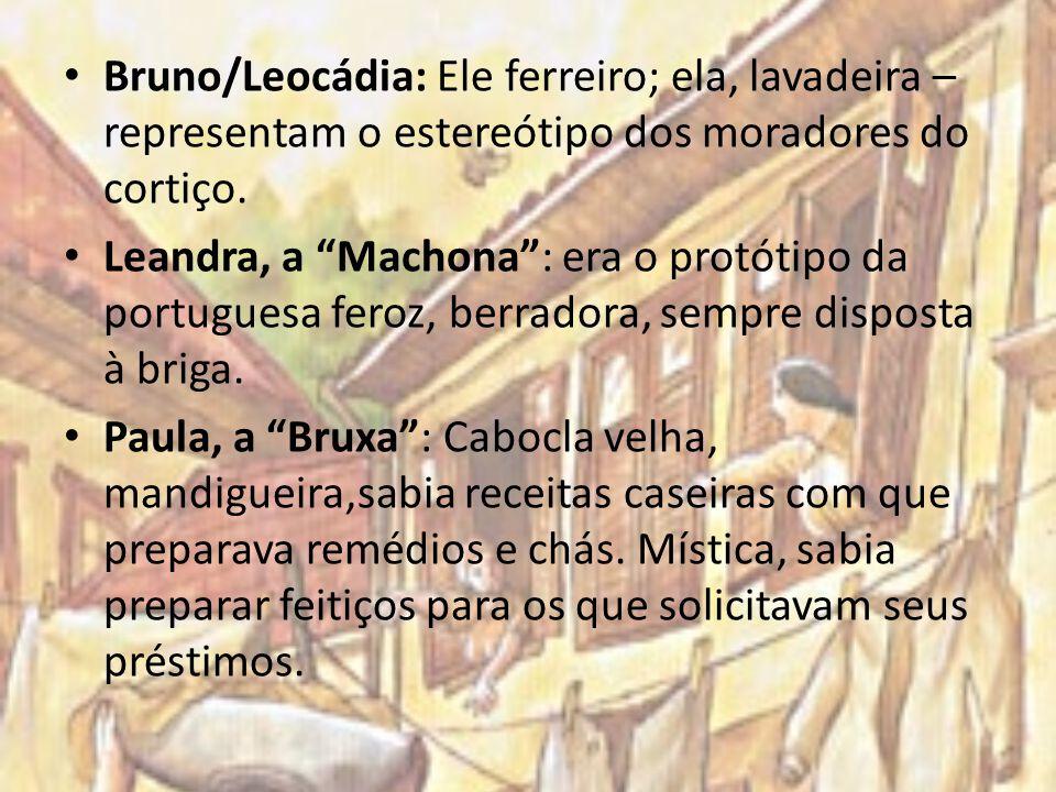 Bruno/Leocádia: Ele ferreiro; ela, lavadeira – representam o estereótipo dos moradores do cortiço.
