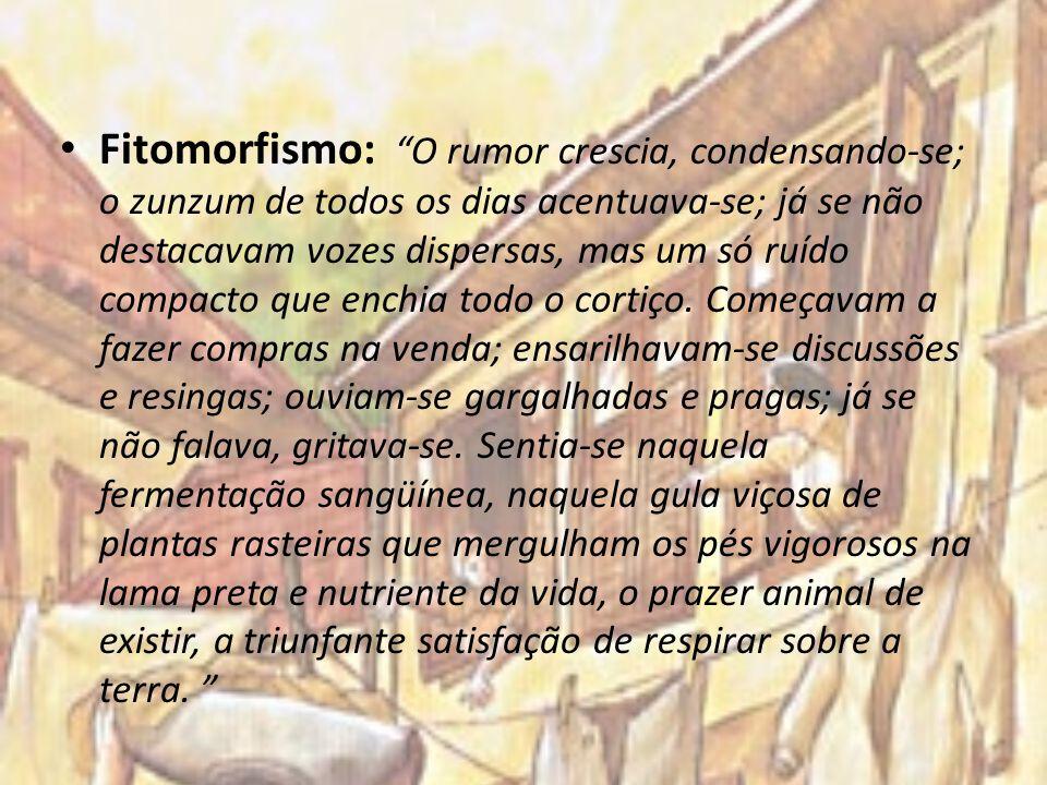 Fitomorfismo: O rumor crescia, condensando-se; o zunzum de todos os dias acentuava-se; já se não destacavam vozes dispersas, mas um só ruído compacto que enchia todo o cortiço.