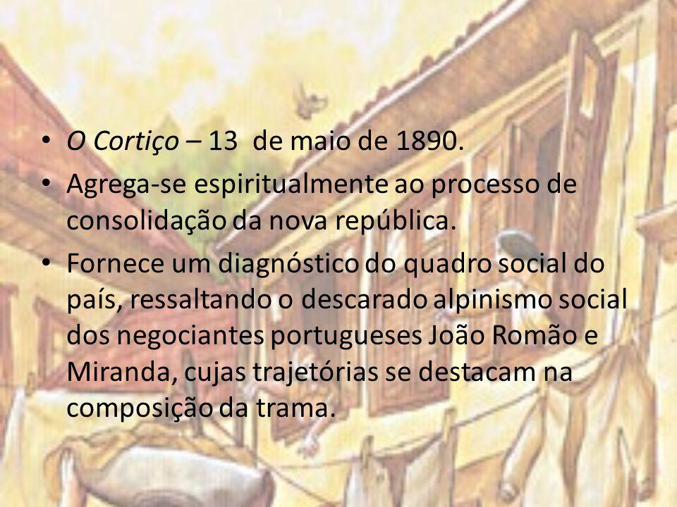 O Cortiço – 13 de maio de 1890. Agrega-se espiritualmente ao processo de consolidação da nova república.
