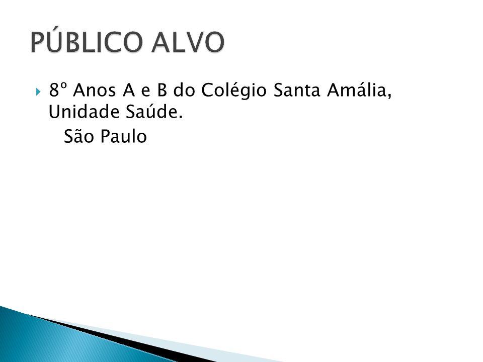 PÚBLICO ALVO 8º Anos A e B do Colégio Santa Amália, Unidade Saúde.