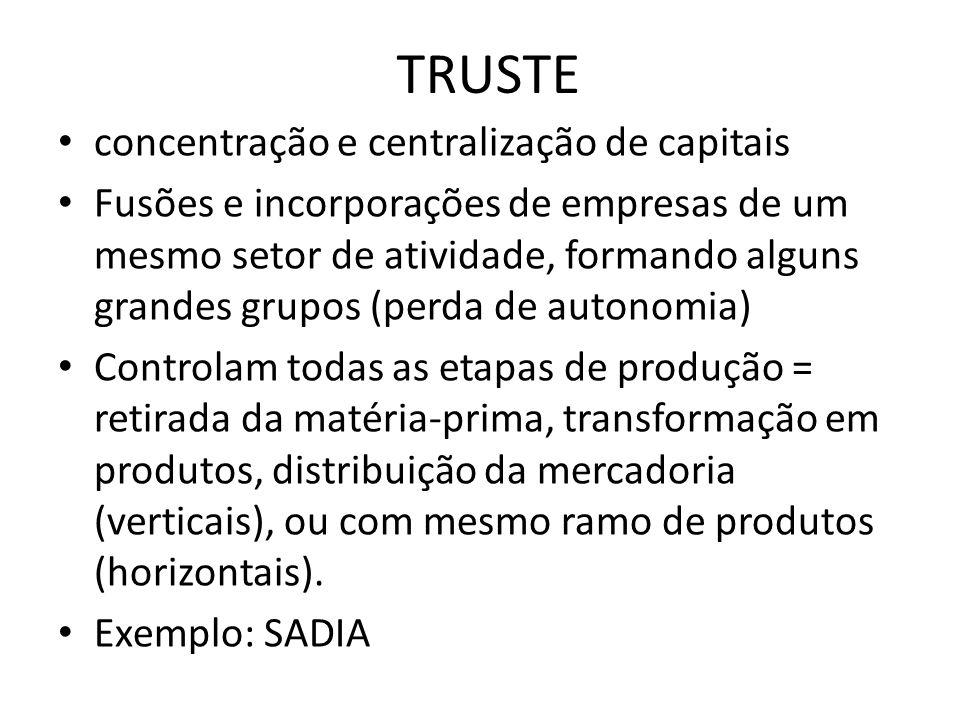TRUSTE concentração e centralização de capitais